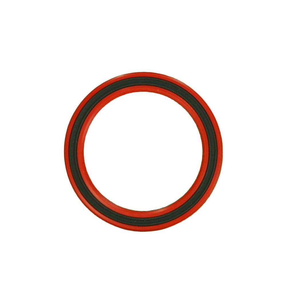Fabric & rubber oilbearing seal w 2 garter springs & encased metal band